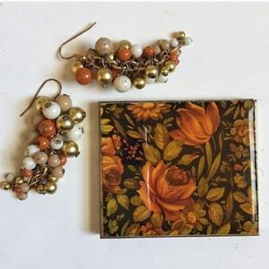 VINTAGE SINGLE MIRROR COMPACT BRASS ORANGE FLORAL